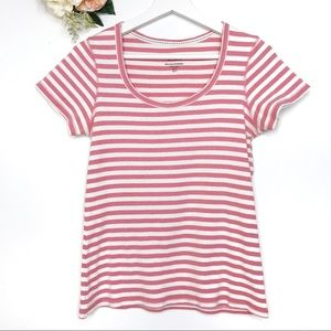 Boden White Pink Stripes Shirt Top Women's Size 8